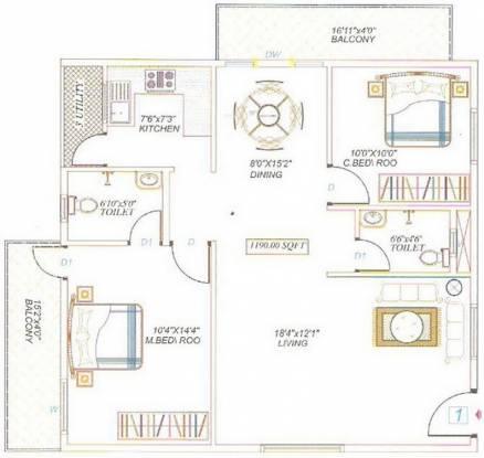 Divya Sai Enclave (2BHK+2T (1,190 sq ft) Apartment 1190 sq ft)
