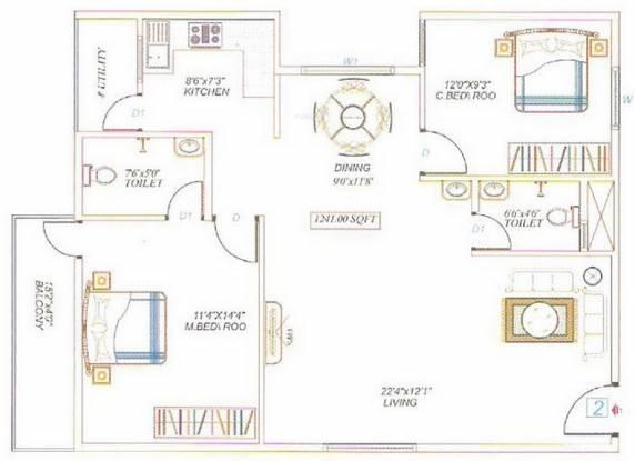 Divya Sai Enclave (2BHK+2T (1,241 sq ft) Apartment 1241 sq ft)