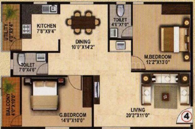 AR Maa Brindavan (2BHK+2T (1,375 sq ft) Apartment 1375 sq ft)