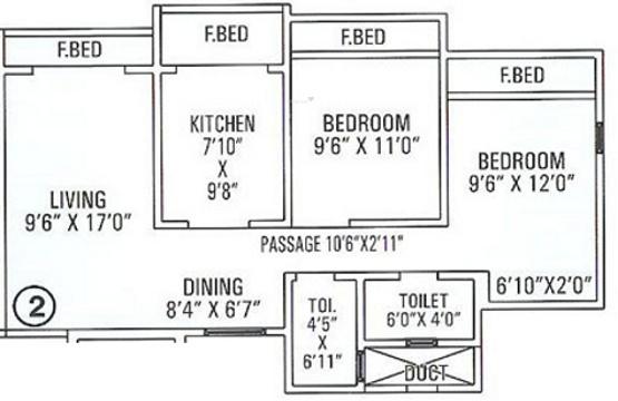 SDC Dev Paradise (2BHK+2T (1,040 sq ft) Apartment 1040 sq ft)
