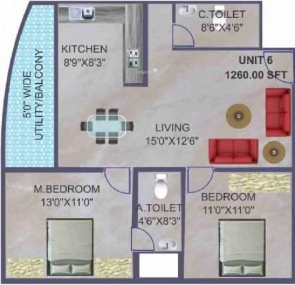 BSR Akshaya Residency (2BHK+2T (1,260 sq ft) Apartment 1260 sq ft)