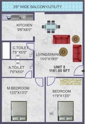BSR Akshaya Residency (2BHK+2T (1,161 sq ft) Apartment 1161 sq ft)