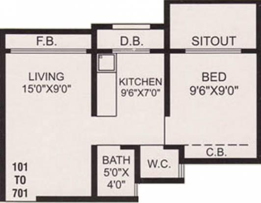 Nine Sea Grape (1BHK+1T (600 sq ft) Apartment 600 sq ft)