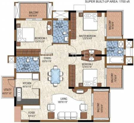 Purva Purva Atria (3BHK+3T (1,700 sq ft) Apartment 1700 sq ft)