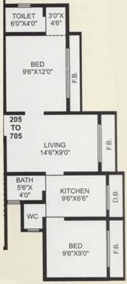 Nine Sea Grape (2BHK+2T (750 sq ft) Apartment 750 sq ft)