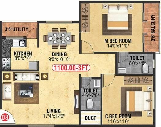 Divya M N Guru Gokulam (2BHK+2T (1,100 sq ft) Apartment 1100 sq ft)