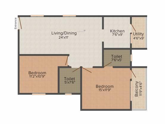Opera Brindavan (2BHK+2T (1,130 sq ft) Apartment 1130 sq ft)