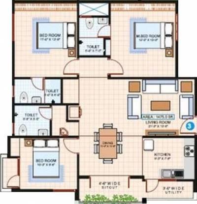 AR Propulsive Passion (3BHK+3T (1,475 sq ft) Apartment 1475 sq ft)