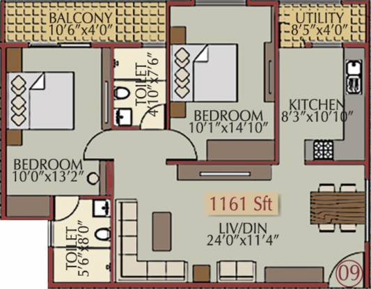 Pioneer Moonstone (2BHK+2T (1,161 sq ft) Apartment 1161 sq ft)