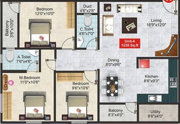 Shivaganga Galaxy (3BHK+2T (1,230 sq ft) Apartment 1230 sq ft)