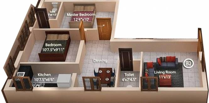 Anu Suseela Nagar (2BHK+2T (1,068 sq ft) Apartment 1068 sq ft)
