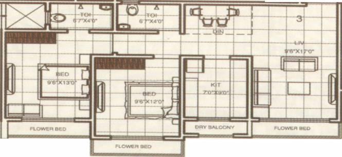 RNA Shree Ram Van (2BHK+2T (999 sq ft) Apartment 999 sq ft)