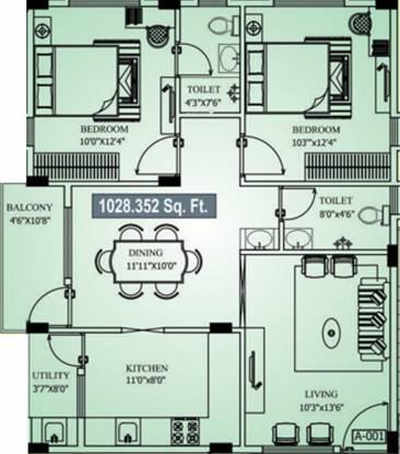 PNR Vasudhaa Raja Gruha (2BHK+2T (1,028 sq ft) Apartment 1028 sq ft)