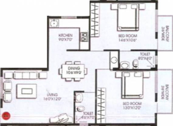 Venkatasai Vensa Royal (2BHK+2T (1,100 sq ft) Apartment 1100 sq ft)