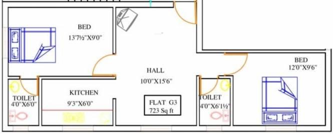 Crest Dusica Phase II (2BHK+2T (723 sq ft) Apartment 723 sq ft)