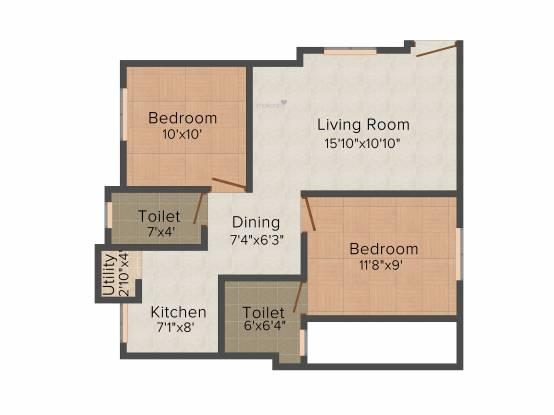 Aspen Gold (2BHK+2T (950 sq ft) Apartment 950 sq ft)