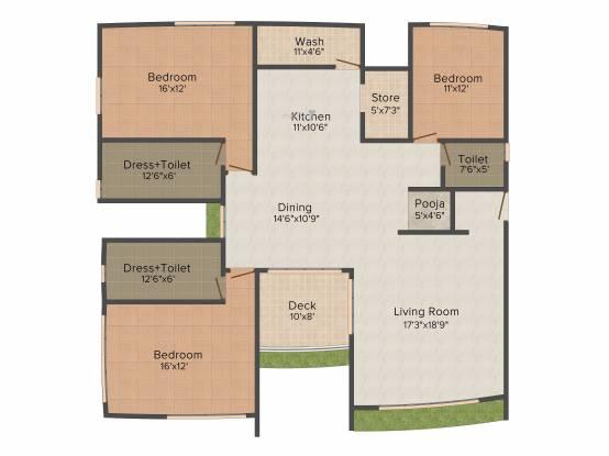 Galaxy Aventura (3BHK+3T (2,695 sq ft) Apartment 2695 sq ft)