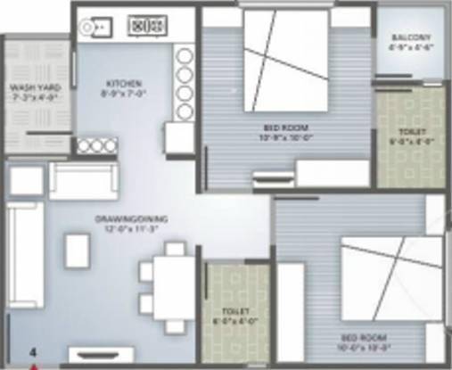 Iris Blueiris II (2BHK+2T (1,062 sq ft) Apartment 1062 sq ft)