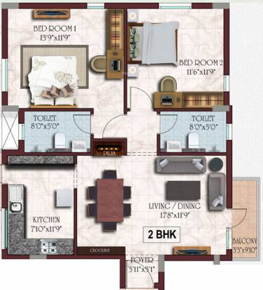 Casagrand Senate (2BHK+2T (1,082 sq ft) Apartment 1082 sq ft)