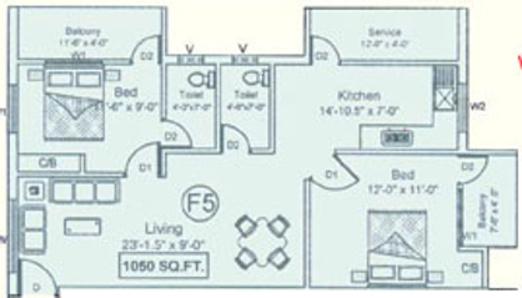 JHL Chengalpet (2BHK+2T (1,050 sq ft) Apartment 1050 sq ft)