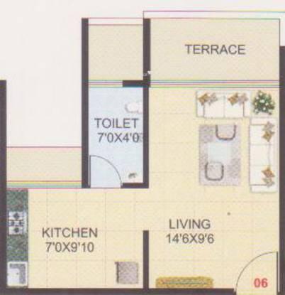 Dream Sky (1BHK+1T (485 sq ft) Apartment 485 sq ft)