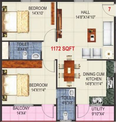 Vandana Marvel (2BHK+2T (1,172 sq ft) Apartment 1172 sq ft)