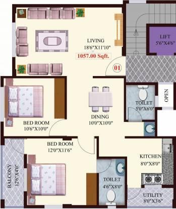 Tree Tamarind Tree (2BHK+2T (1,057 sq ft) Apartment 1057 sq ft)
