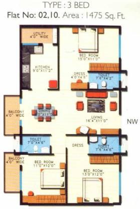 Sumadhura Paramount Serene (3BHK+3T (1,475 sq ft) Apartment 1475 sq ft)