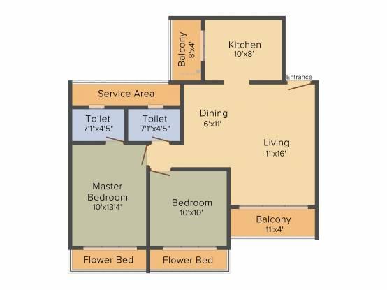Mega Benchmark Complex (2BHK+2T (1,005 sq ft) Apartment 1005 sq ft)