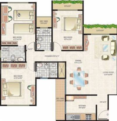 Cosmos Majestic Tower (3BHK+3T (1,675 sq ft) Apartment 1675 sq ft)