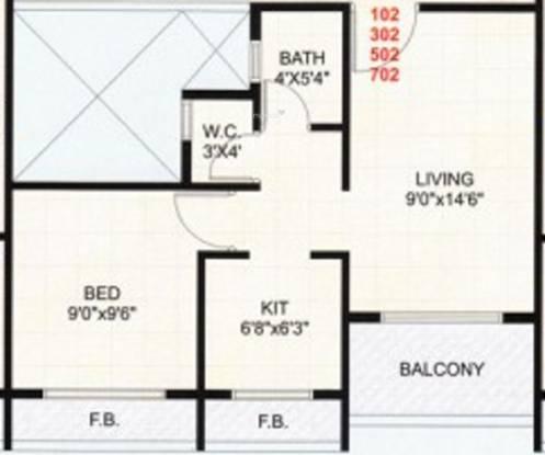 Hi Tech Gulmohar Heights (1BHK+1T (645 sq ft) Apartment 645 sq ft)