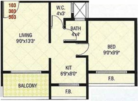 Radhe Krishna Residency (1BHK+1T (610 sq ft) Apartment 610 sq ft)