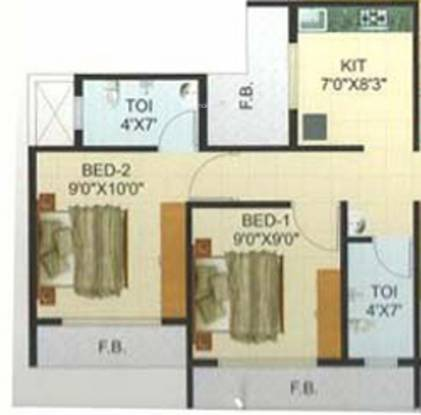 Pramukh Residency (2BHK+2T (955 sq ft) Apartment 955 sq ft)