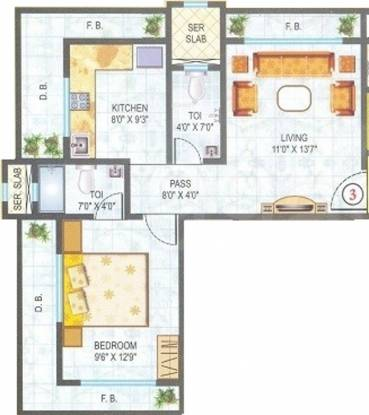 Kandivalikar Pavsha Castle (1BHK+2T (630 sq ft) Apartment 630 sq ft)
