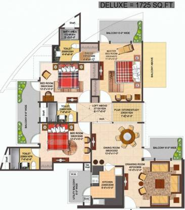 The Antriksh Heights (3BHK+3T (1,725 sq ft) Apartment 1725 sq ft)