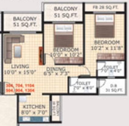 Uma Sky Oasis (2BHK+2T (1,180 sq ft) Apartment 1180 sq ft)