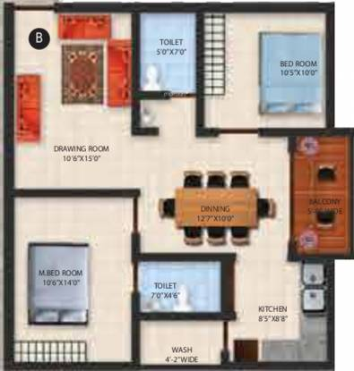 Jayanth Santis (2BHK+2T (1,073 sq ft) Apartment 1073 sq ft)