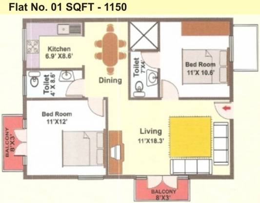 Mahaghar Sagar Deep (2BHK+2T (1,150 sq ft) Apartment 1150 sq ft)
