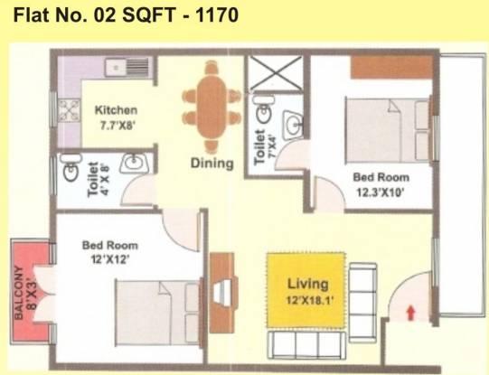 Mahaghar Sagar Deep (2BHK+2T (1,170 sq ft) Apartment 1170 sq ft)