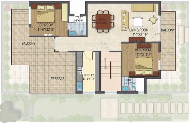 Landmark Avenue (2BHK+2T (1,310 sq ft) Apartment 1310 sq ft)