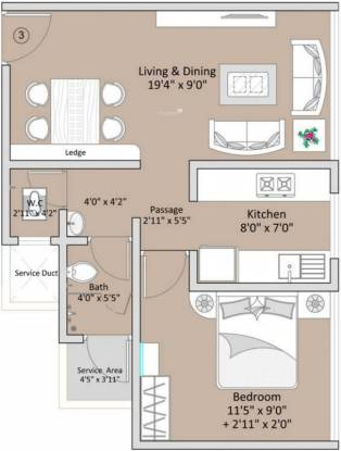 The Baya Goldspot (1BHK+1T (668 sq ft) Apartment 668 sq ft)