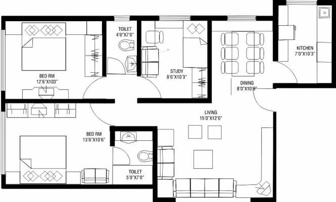 Lokhandwala Paradise (2BHK+2T (1,100 sq ft)   Study Room Apartment 1100 sq ft)
