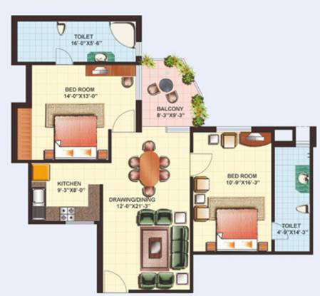 Gaursons Heights (2BHK+2T (1,190 sq ft) Apartment 1190 sq ft)