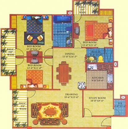 Perfect Shri Ram Residency (3BHK+3T (1,635 sq ft)   Study Room Apartment 1635 sq ft)