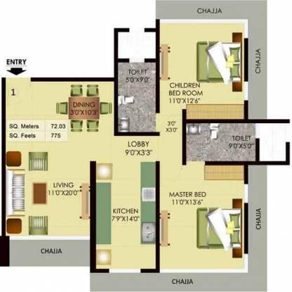 Mayfair Akshay (2BHK+2T (1,310 sq ft) Apartment 1310 sq ft)