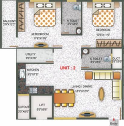 Nishitas Sumo (2BHK+2T (1,030 sq ft) Apartment 1030 sq ft)