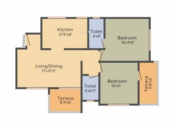 DNV Elite Gardens (2BHK+2T (1,000 sq ft) Apartment 1000 sq ft)