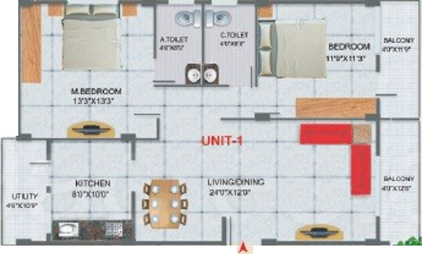 Nishitas Orchid (2BHK+2T (1,215 sq ft) Apartment 1215 sq ft)
