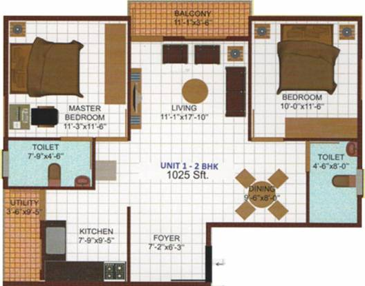 Nishitas Siri Meridian (2BHK+2T (1,025 sq ft) Apartment 1025 sq ft)