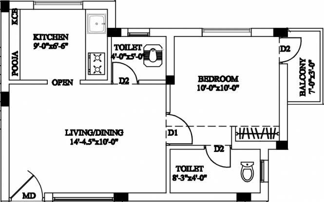 Infraz Valliz (1BHK+2T (540 sq ft) Apartment 540 sq ft)